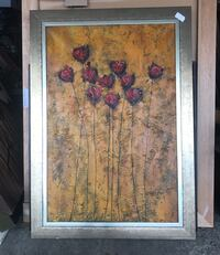 Brown wooden framed painting of flowers New Laval, H7W 1P2