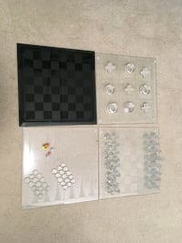 Winter Board Games - Chess, Hash and Tic-tac-toe glass Coquitlam, V3E