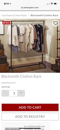 Pottery Barn Blacksmith Clothes Rack (closet organizer, crate and barrel, west elm) garment, moving 30 km