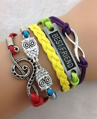 New Infinity Owl Note Leather Charm Bracelet Plated Silver Calgary