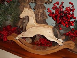 Large Vintage Table Top Decor Wooden Rocking Horse