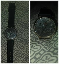 round silver-colored Roxy glittered analog watch with black leather strap collage Oroville, 95966