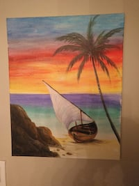boat and coconut palm tree painting