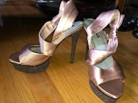 Pair of gray open-toe ankle strap heels Wood Dale, 60191