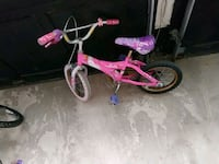 toddler's pink and white bicycle with training wheels Brampton, L6X