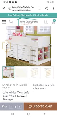 Ashley loft bed with dresser and cubby stand. Carter Lake, 51510