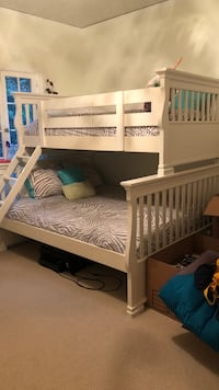 White wooden bunk bed 400 mattress not included ladder needs a hook, which you can buy from amazon. Beds can be separated also Beverly Hills, 90210