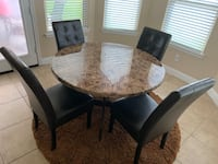 Hillsdale Espresso Marble,Wood & Leather 5-Piece Dining Set-LIKE NEW Humble, 77338