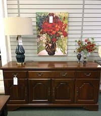 Solid cherry, vintage Early American style buffet Heath, 43056
