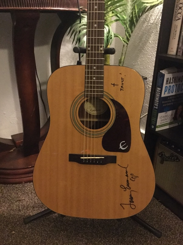 Used Beautiful Epiphone Acoustic Guitar Signed By Tommy Emmanuel