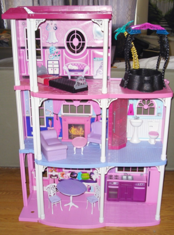 Used Barbie Doll 3 Story Townhouse Dream House Dollhouse Furniture