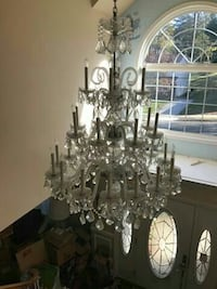 crystal-dropped 3-tiered chandelier