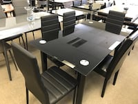 Brand new black 7pc tempered glass dining set warehouse sale  多伦多