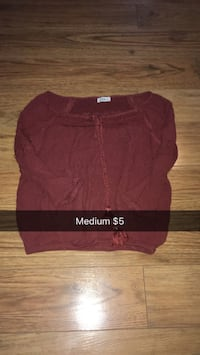 women's red long-sleeve blouse Mount Pearl, A1N 3J3