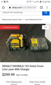 DW088LG DEWALT 12V MAX GREEN CROSS LINE LASER LEVEL WITH CHARGER