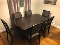 Rectangular brown wooden table with six chairs dining set 29 km