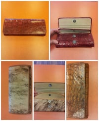 leather long wallet collage