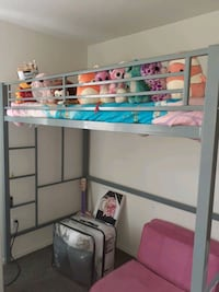 TWIN LOFT BED WITH MATTRESS & CHAIR & BEDDING