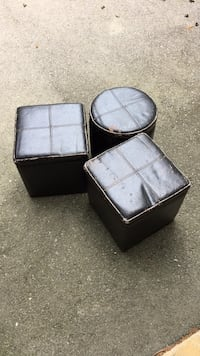 Three black leather stools Ancaster, L9G 1K1