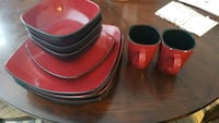two red-and-black ceramic mugs Calgary, T2W 3J5