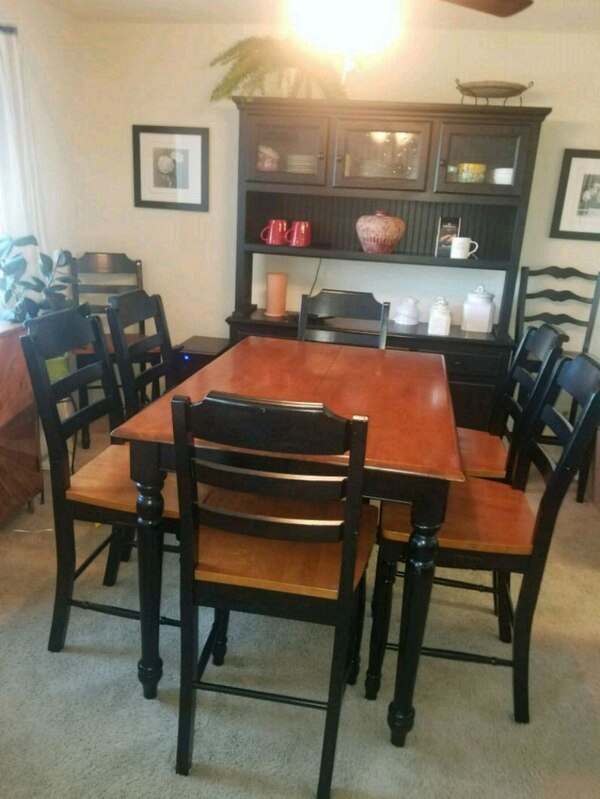 rectangular oak wooden table with 8 chairs din