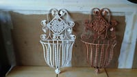 Vintage wrought iron wall plant vases