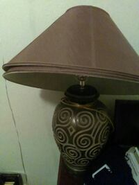 brown floral ceramic base table lamp with brown lampshade