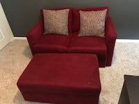 red fabric sofa chair with ottoman 818 mi