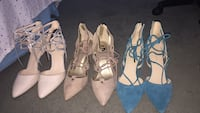 Two pairs of white and brown leather heeled sandals Palmdale, 93550