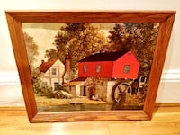 """Vintage Lithograph Framed Art Print Painting Home Wall Decor """"Red Watermill"""" by E. THOMAS Landscape Red Farm Rustic Primitive Farmhouse Americana Barn Boston"""