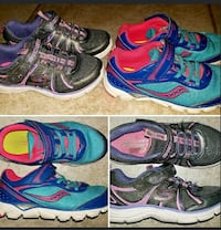 two pairs of teal and black low-top sneakers photo collage