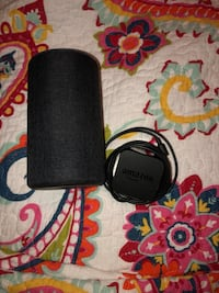 black and gray Bose corded headphones