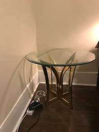 Glass tables with golden colour base (x2) Brockville, K6V 5B5