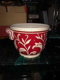 Fitz and Floyd Planter - Red And White - Solid & Heavy Duty - like new Homewood, 35209