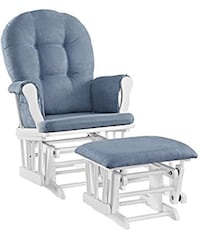 Glider and Ottoman Set, White with Blue Cushion New Freedom, 17349