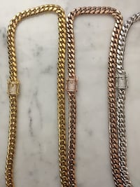 Cuban Chain 18KT Gold Plated Over 925 Sterling Silver or Stainless Steel