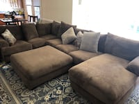 Mocha suede sectional sofa with throw pillows Chantilly, 20151