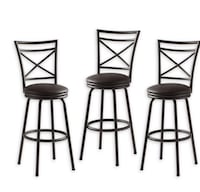 Faux Leather Upholstered Bar Stools- Set-of 6 Yonkers, 10710