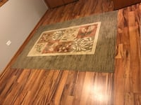 Rectangular green and brow floral area rug Hickory Hills, 60457