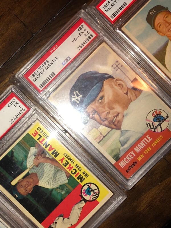 Mickey Mantle. I'm open to offers and trades. I don't need to sell so please don't offer me $150 for all these mantles. I know the value of my cards.also my earliest mantle is a 53 topps and a 54 bowman quite a few others 23ce72bc-4a7c-445e-86de-eebd541a4bd5