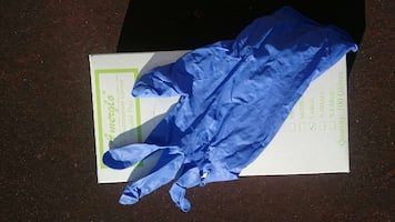 blue disposable gloves