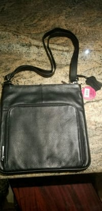 Black  Leather shoulder bag unisex