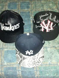Three Yankee caps to have leather ones canvas