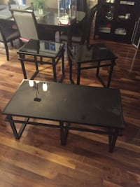 rectangular black wooden table with four chairs dining set Saint-Colomban, J5K