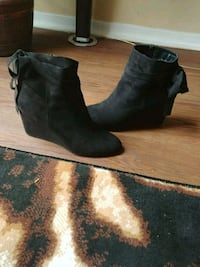 black suede wedge booties Pickering, L1W 1J3