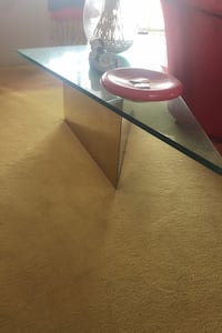 Triangle thick glass coffee table