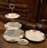 """Royal Albert """"concerto """" bone china 3 tier cake stand and oval bowl"""