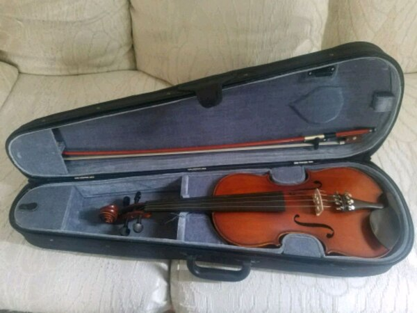 Morelli violin with hard case, bow and resin