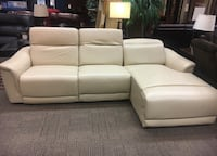 White leather sectional w/ recliner  Stafford, 22554