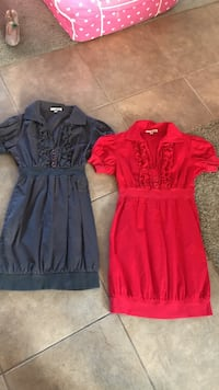 one red and one black ruffled-neckline mini dresses Toms River, 08755